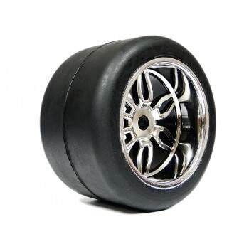 Par de Rodas Cromada Slicks Monster/Pneu On Road - S129