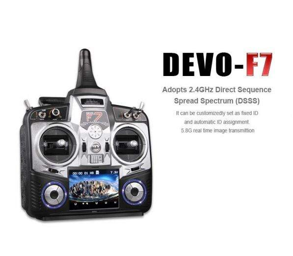Rádio Walkera DEVO F7 FPV Devention 2.4GHz LCD 3.5