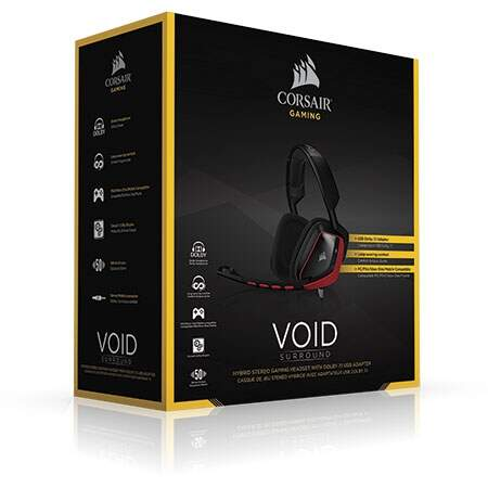 Fone Corsair Gaming Void Surround Dolby 7.1 Hibrido Com Placa de Som USB Para PC PS4 XOne CA-9011144-NA