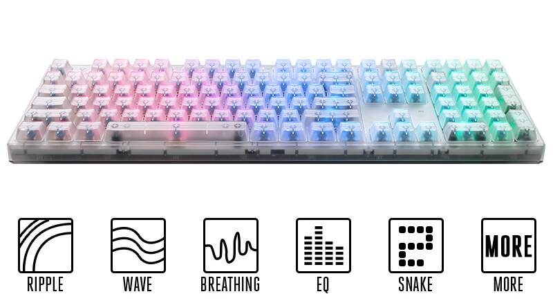Teclado CoolerMaster Masterkeys Pro L Crystal Edition Cherry Blue c/ LED RGB - SGK-6020-TPCL1-US