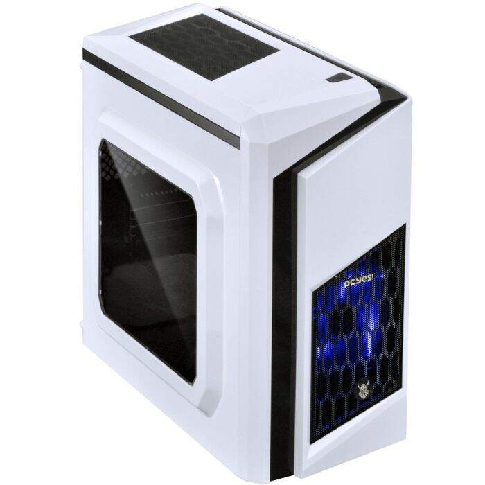 Gabinete Gamer PCYES mid-tower White Dwarf com 2 fans LED Azul Lateral em acrílico ? DWABCOPT2FCA