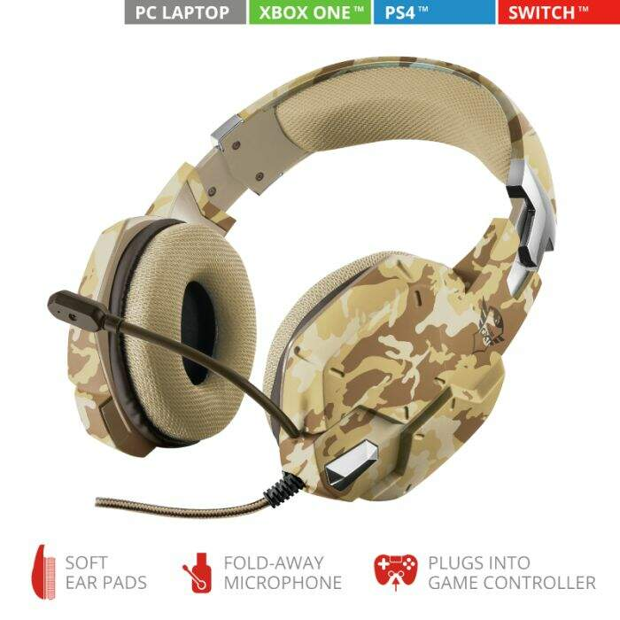 Fone Trust Gamer GXT 322D Carus Desert Camo - Ps4 / Xbox One / Pc