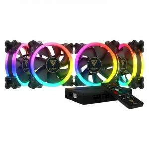 Kit Fans Gamdias Aeolus M1-1204R - 4x Fan 120mm RGB Ring + Controlador
