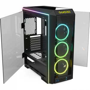 Gabinete Gamer Gamdias Talos P1, RGB, Mid Tower, 3 Coolers, Lateral e Frontal em Vidro