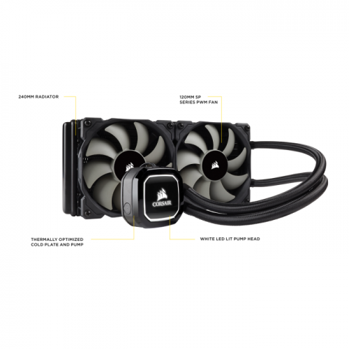 Water Cooler Corsair Hydro Series H100X, 240mm, Led Branco - CW-9060040-WW