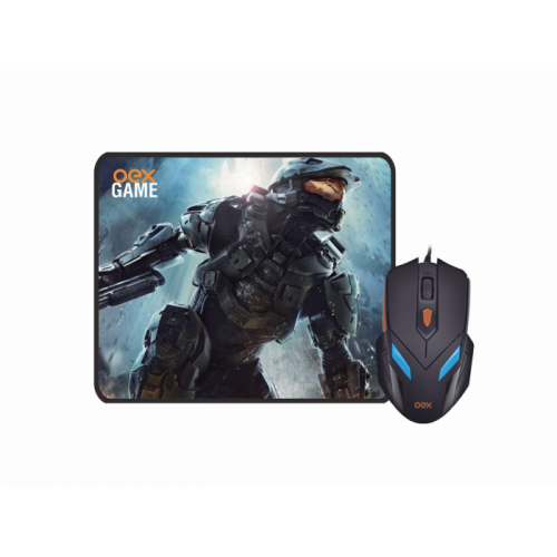 Combo OEX Gaming Mouse e MousePad War MC100 Preto