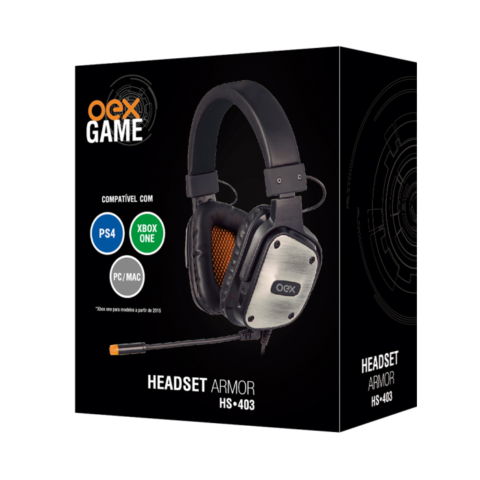 Fone OEX Gaming Armor HS403 Preto p/ PC, PS4 e XBOX ONE