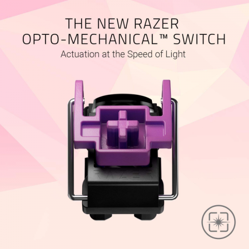 Teclado Razer Huntsman Quartz Opto-Mechanical - Switch Clicky Purple