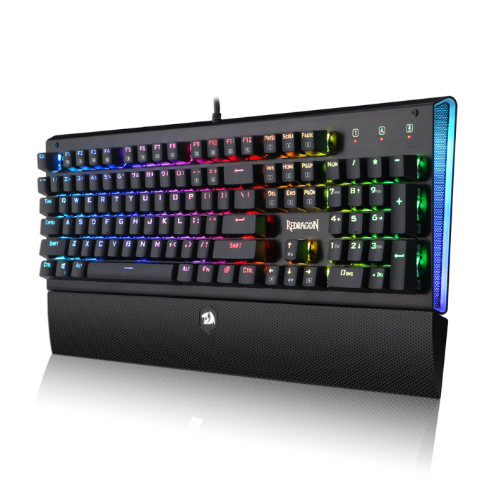 Teclado Mecânico Gamer Redragon Dark Aryaman K569 ABNT2 Switch Blue c/ Led RGB