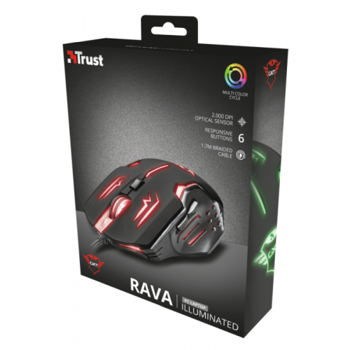 Mouse Trust Gamer GXT 108 Rava Illuminated 2.000 DPI T22090