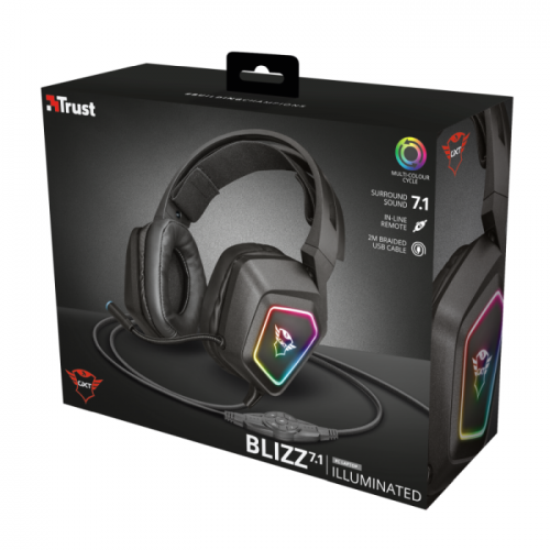 Fone Trust Gamer GXT 450 Blizz USB 7.1 Surround RGB Illuminated Gaming