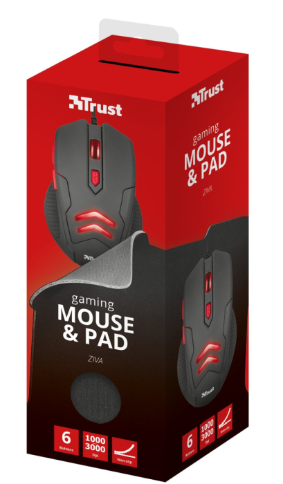 # BLACK NOVEMBER # Combo Trust Gaming Mouse e MousePad Ziva 3000DPI Led Vermelho T21963