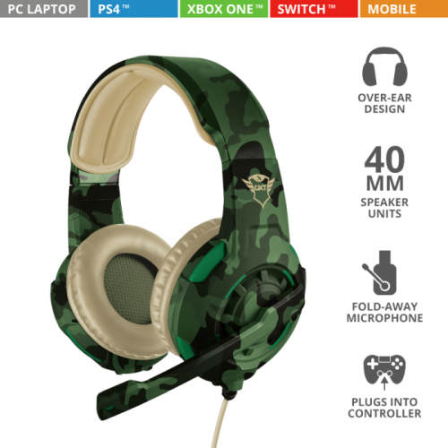Fone Trust Gamer GXT 310C Radius Gaming Jungle Camo - Ps4 / Xbox One / Switch / Pc - T22207