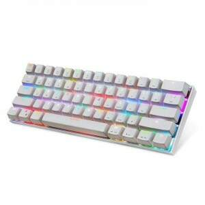 Teclado Gamer Mecânico Motospeed CK62 Bluetooth Branco Switch Outemu Blue RGB