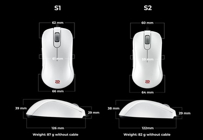 Mouse Zowie Gear S1 USB White Edition - Sensor PMW 3360
