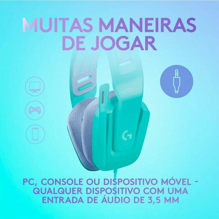 Fone Gamer Logitech G335 Driver 40mm Verde para PC/PlayStation/Xbox/Switch/Mobile - 981-001023