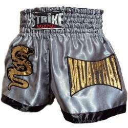 Short de Muay Thai Strike Boxing Prata