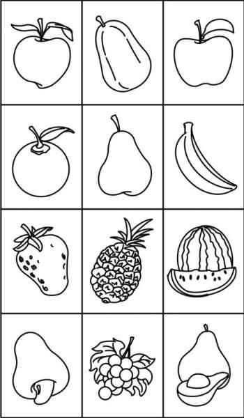 Carimbos de frutas  - 12 unidades