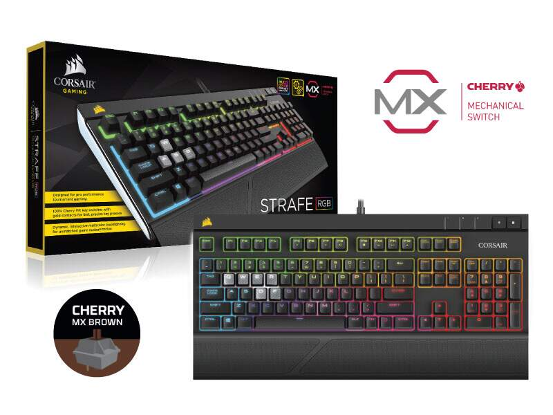 Teclado Corsair Gaming Strafe RGB Cherry Brown - CH-9000094-NA
