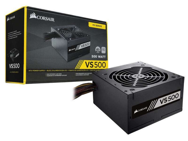 Fonte ATX Corsair VS500 500W Reais 80 Plus White - CP-9020118-LA
