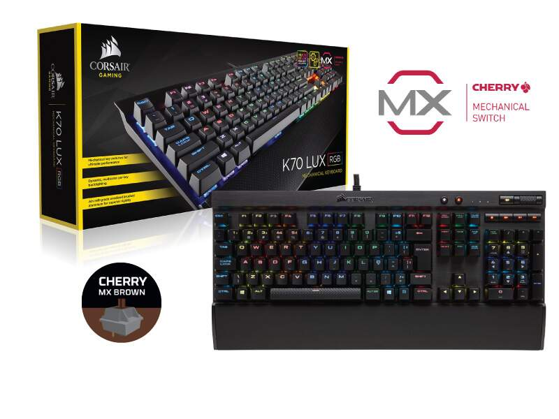 Teclado Corsair Gaming K70 LUX RGB Cherry Brown NA CH-9101012-NA