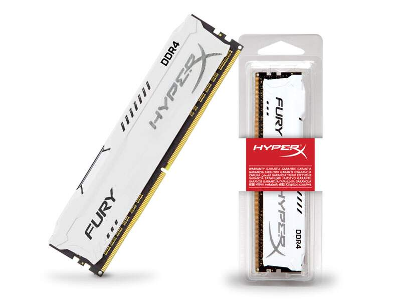 Memória Kingston HyperX FURY 8GB 2400Mhz DDR4 CL15 White Series HX424C15FW2/8