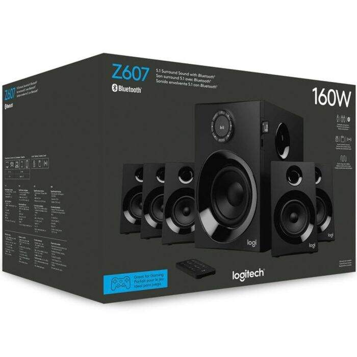 Caixa de Som Logitech Z607 5.1 Surround, Bluetooth, 160W