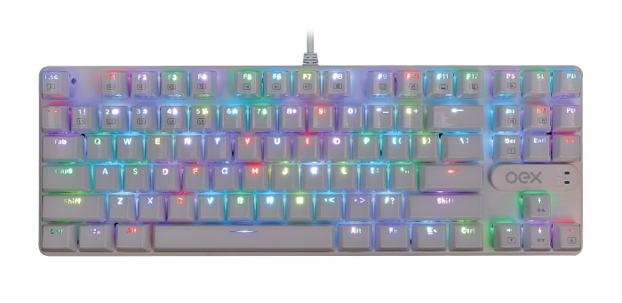 Teclado Mecânico OEX Gaming Phantom TC700 Branco Switch Outemu Blue