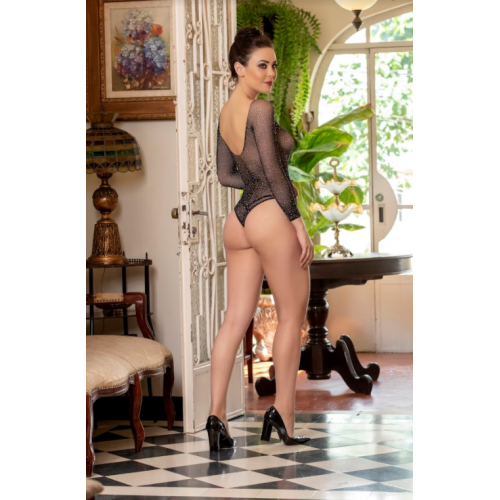 Body Rendado com Strass  Bodystocking Preto Yaffa