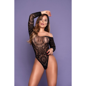 Body Rendado Bodystocking Preto Yaffa
