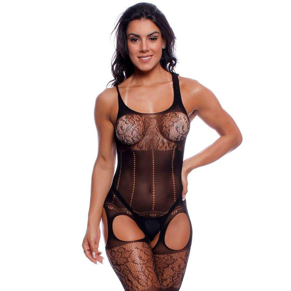 Body Macacão Rendado Bodystocking Bruna