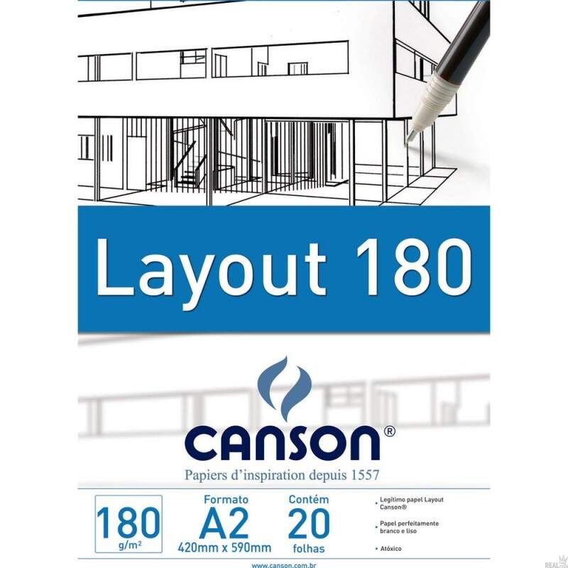 BLOCO LAY OUT A2 180GR 20 FOLHAS CANSON