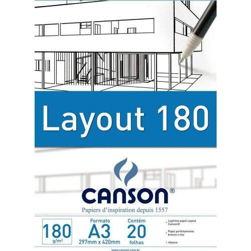 BLOCO LAY OUT A3 180GR 20 FOLHAS CANSON