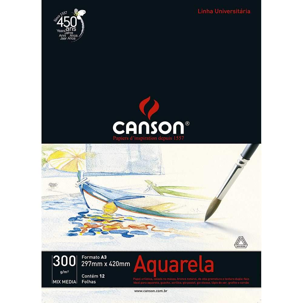 BLOCO AQUARELA A3 300G 12F MIX MEDIA CANSON