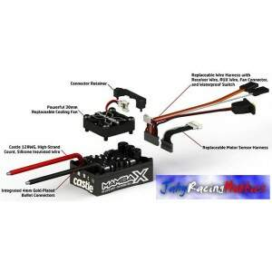 Kit Brushless Mamba X 25.2 WP ESC e Motor 7700kV Neu-Castle 1:10 Castle Creations