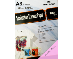 PAPEL TRANSFER SUBLIMÁTICO MECOLOUR A3 (50FLS)