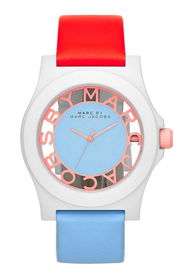 Relógio Marc Jacobs \\\'Block\\\' Two-Tone Leather Strap Coral com Azul