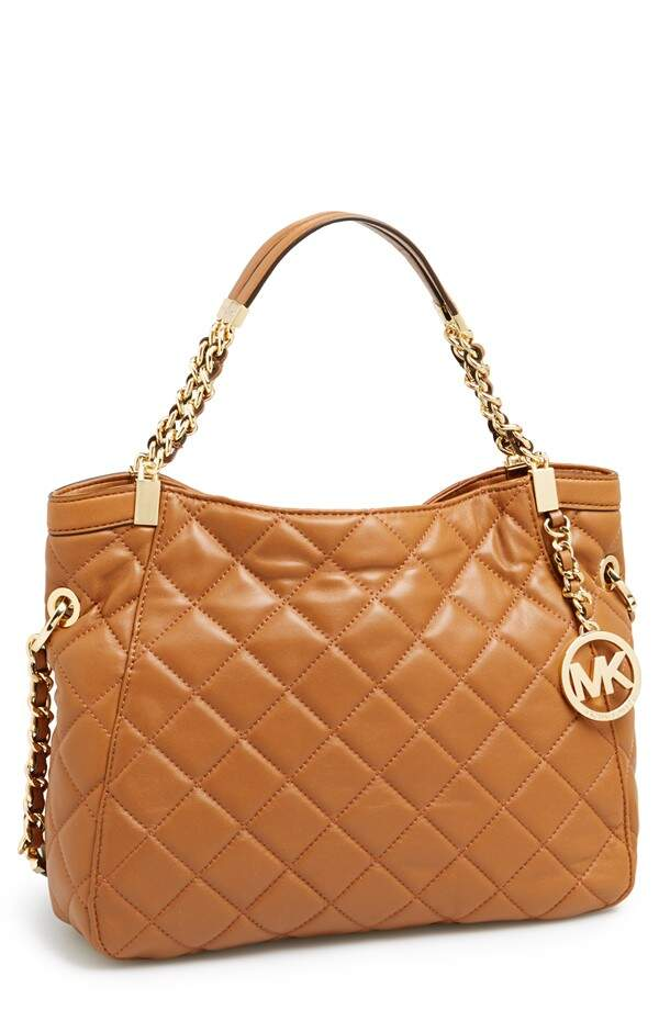 Michael Kors \\\'Medium Susannah\\\' Quilted Leather Tote Walnut