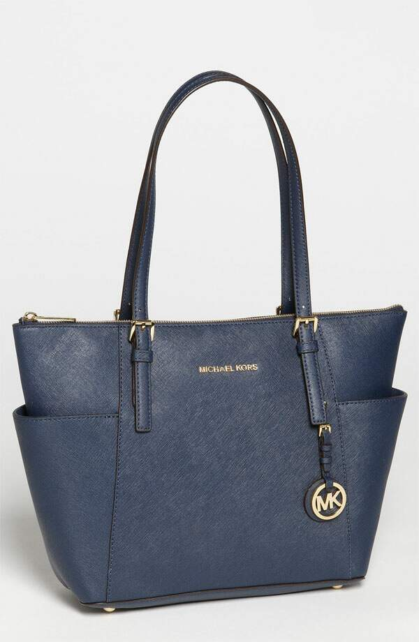 Michael Kors \\\'Jet Set\\\' Leather Tote Navy