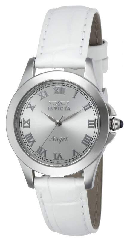 Relógio Invicta Angel Silver Dial White Leather Interchangeable Strap Watch Set