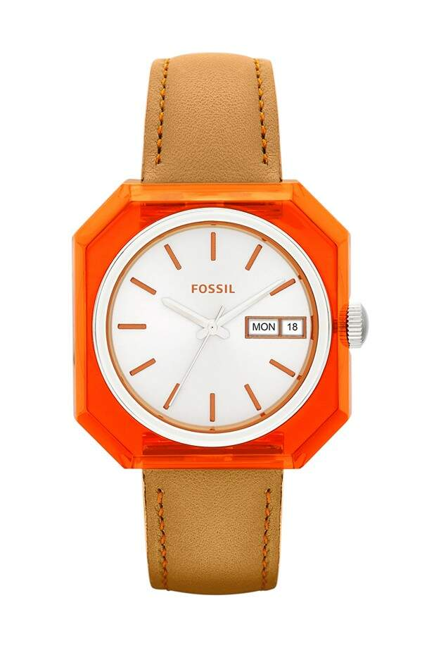 Relógio Fossil \\\'Wrist Pop\\\' Square Case Leather Strap Laranja com Tan