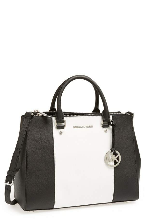Michael Kors \\\'Large Sutton Center Stripe\\\' Saffiano Leather Tote Branco com Preto