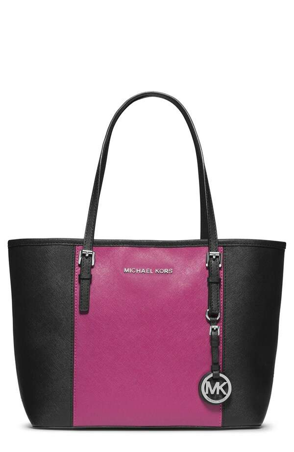 Michael Kors Small Jet Set Travel Tote Preto com Rosa