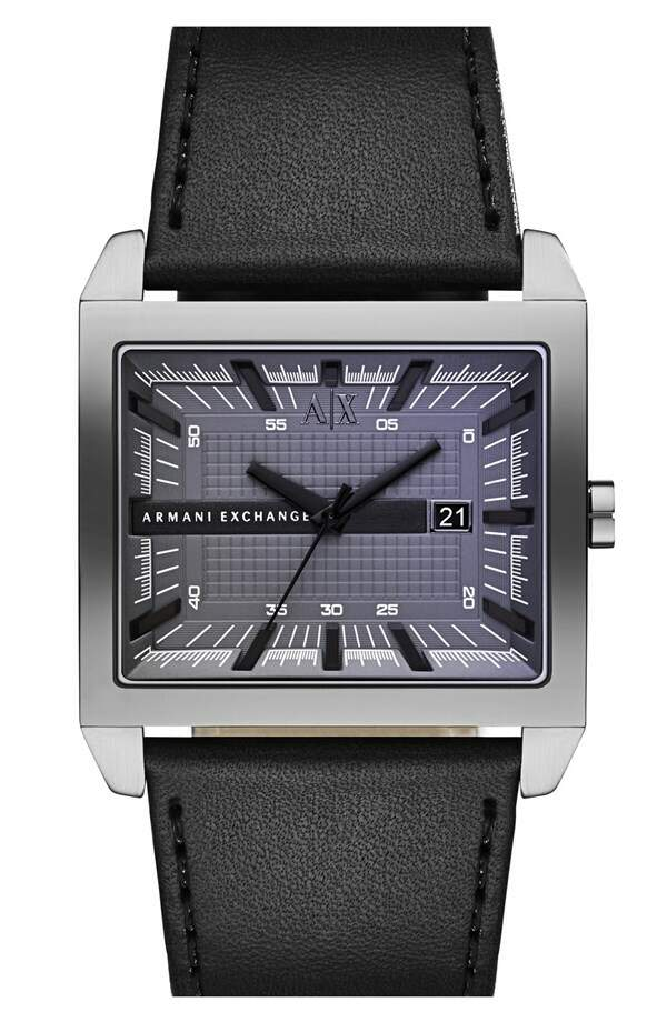 Relógio Armani Exchange Rectangular Leather Strap Preto com Gunmetal