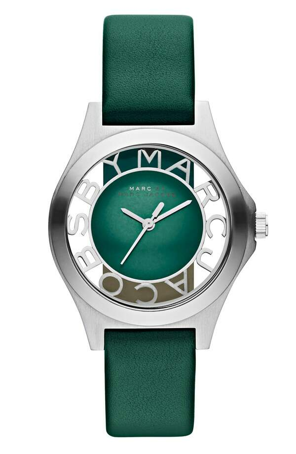 Relógio Marc Jacobs Henry Skeleton Leather Strap Prata com Emerald