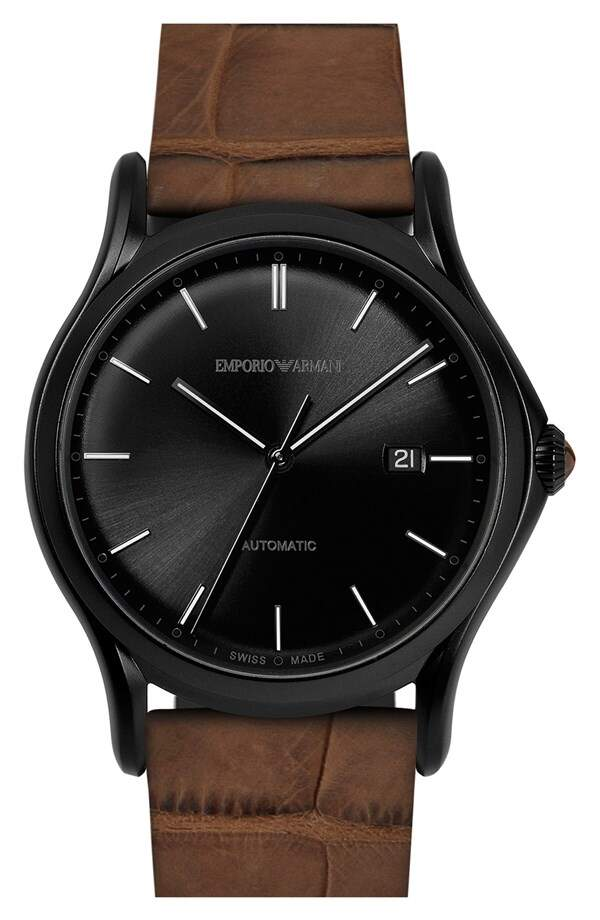 Relógio Emporio Armani Swiss Made Automatic Alligator Leather Strap Marrom com Preto