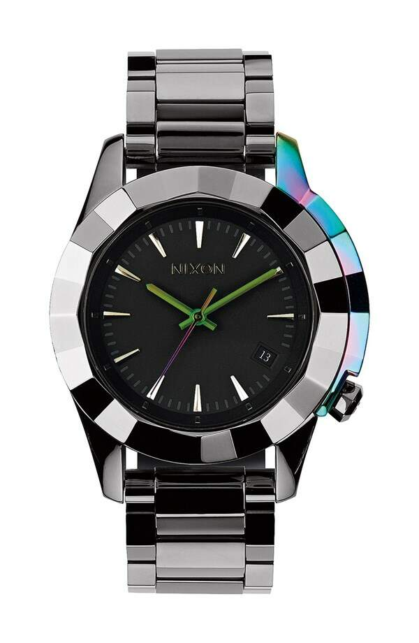 Relógio Nixon The Monarch Iridescent Accent Faceted Bezel Gunmetal com Multi