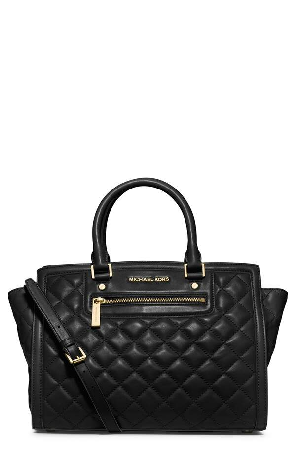 Michael Kors Large Selma Quilted Leather Satchel Preta