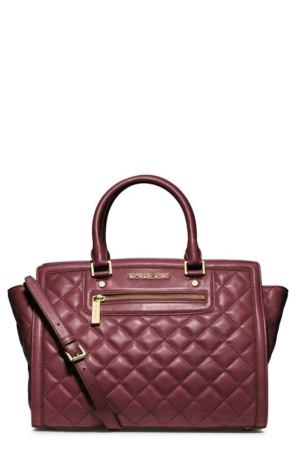 Michael Kors Large Selma Quilted Leather Satchel Claret