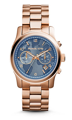 Relógio Michael Kors Hunger Stop Oversized Runway Rose Gold-Tone Stainless Steel Rosê Médio